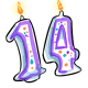 Purple 14th Birthday Candle