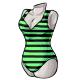 Black Stripe V Neck Swimsuit