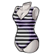 White Stripe V Neck Swimsuit